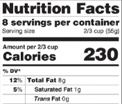 The proposed label (see right) would enlarge calorie amounts and would replace existing serving sizes to more accurately reflect what consumers actually eat or drink.