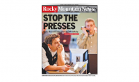 The final cover for the Rocky Mountain News. Schultz was an employee of the paper for 23 years, until its end.